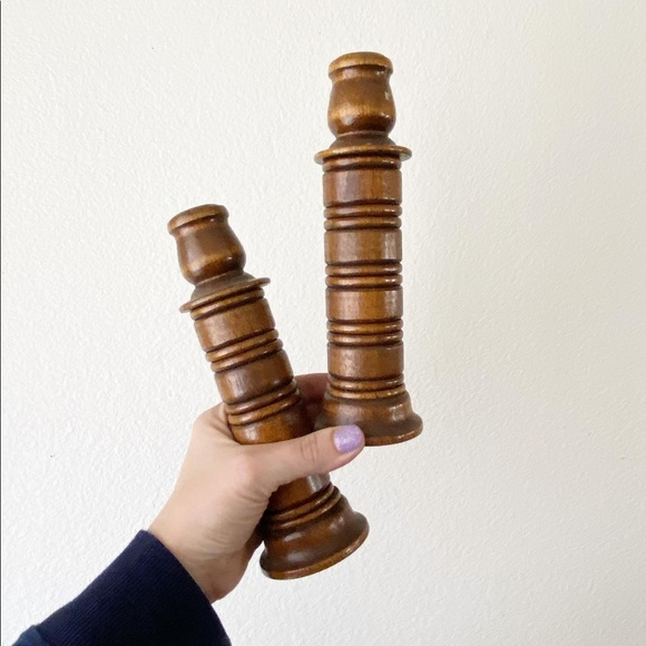 Turned Wood Candlesticks set/2 Wooden 1970s 70s